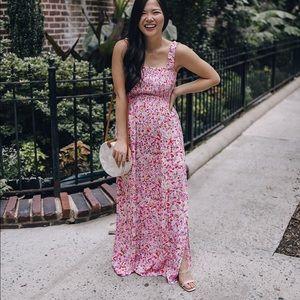 Pink floral smocked maxi dress
